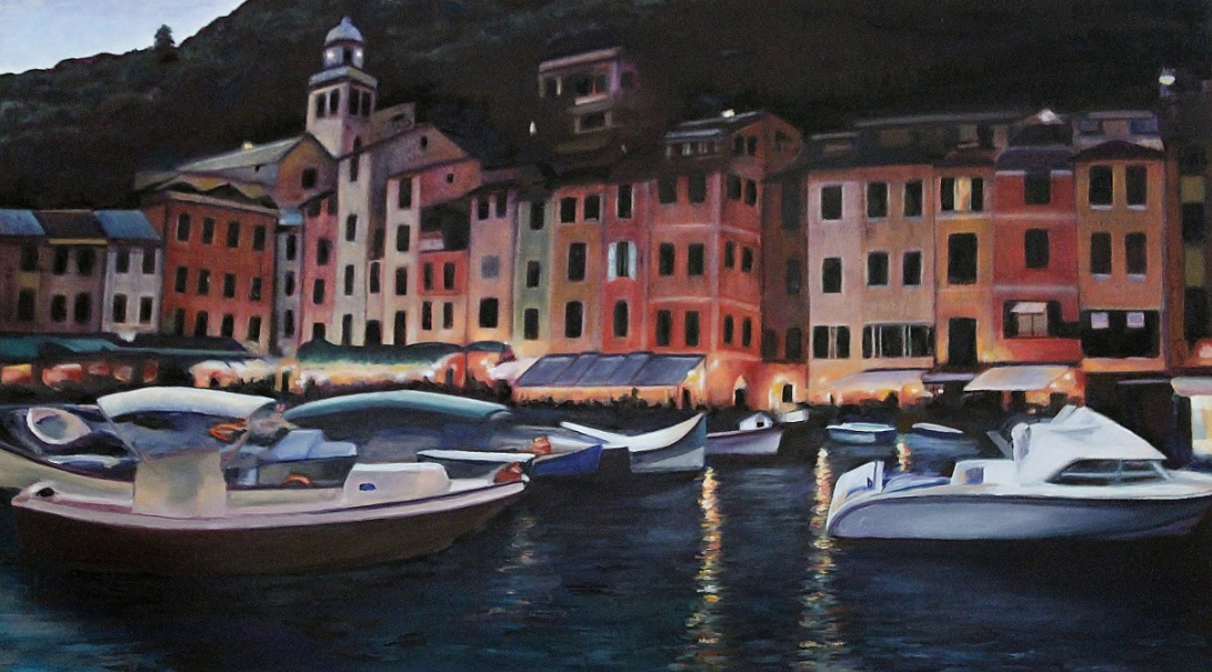 Mediterranean Port at Night by Shelley Rygg